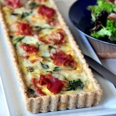 Spinach, Brie and Prosciutto Tart with Pecan Crust -- For Brunch Party