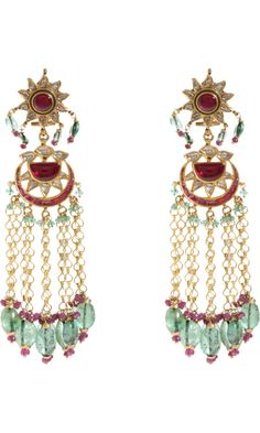 Munnu Diamond, Ruby, Emerald & Pearl Drop Earrings discovered on Fantasy Shopper Pearl And Diamond Earrings, Emerald Earrings, Gemstone Earrings, Beaded Earrings, Emerald Diamond, Pearl Diamond, Chandelier Earrings, Diamond Jewelry, Jewelry Design Earrings