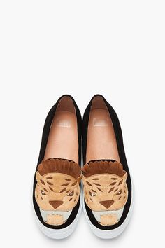 JEFFREY CAMPBELL Black and tan suede Face Man big cat loafers