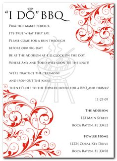 Cute rehearsal dinner invite (love the wording) This would be perfect for our rehearsal dinner!