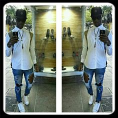 Crispy White Shirt goes rough with Torn Jeans #FashionConvo. #MenFashion