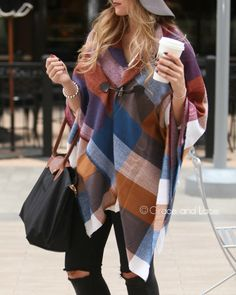 Grace and Lace - Blanket Scarf/Toggle Poncho in Multi Colorblock, $34.00 (http://www.graceandlace.com/all/blanket-scarf-toggle-poncho-in-multi-colorblock/)