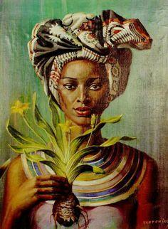 Vladimir Grigoryevich Tretchikoff December 1913 in Petropavlovsk, Russia, – 26 August 2006 in Cape Town, South Africa) Black Women Art, Black Art, Caricatures, Figure Painting, Painting & Drawing, Art Africain, South African Artists, Wow Art, Afro Art