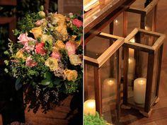 Decoração casamento flores vela rústico (Decoração: Bendita Festa)
