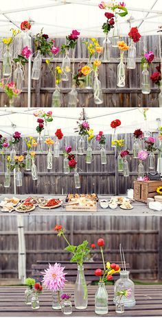 How to Throw a Backyard Wedding : Decor Decoration Buffet, Deco Buffet, Deco Table, Buffet Chic, Marquee Decoration, Rustic Buffet, Rustic Table, Floral Wedding, Diy Wedding