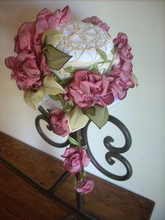 VINTAGE Pink Pearl Millinery flower pick//bunch fashion DOLL hats Alexander dolls