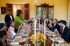 President Barack Obama and First Lady Michelle Obama host a Passover Seder Dinner for family, staff and friends, in the Old Family Dining Room of the White House, March 25, 2013.  (Official White House Photo by Pete Souza)