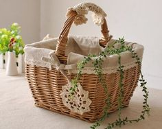 wicker baskets used to decorate | Hand Made Wicker Basket fruit food sundry basket Decoration Antique ...