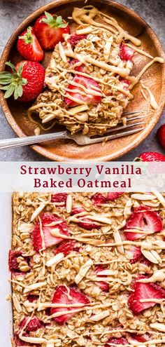 Breakfast Recipes Strawberry Vanilla Baked Oatmeal is perfect to make for Sunday morning breakfast and then reheat and enjoy the leftovers during the week! Serve it topped with vanilla almond butter and maple syrup for a sweet, but healthy breakfast! Healthy Strawberry Recipes, Healthy Oatmeal Recipes, Good Healthy Recipes, Healthy Baking, Healthy Food, Healthy Brunch, Strawberry Breakfast, Strawberry Oatmeal, Easy Brunch Recipes