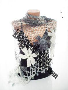 SHAWL Grey Flower Mohair Triangle Shawl by nilgunshop on Etsy