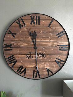 Natural wooden wall clock Rustic wall clock Large wall clock