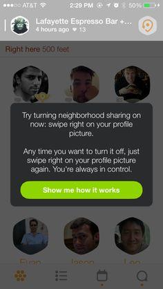 Swarm iPhone popovers screenshot