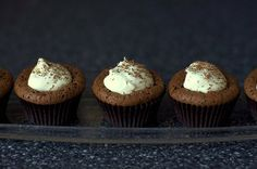 chocolate soufflé cupcakes with mint cream... yumm!