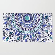 Indigo Flowered Mandala Rug by Janet Broxon. Worldwide shipping available at Society6.com. Just one of millions of high quality products available.