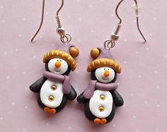 Boucles d'oreilles pingouins de Noël - cadeaux de Noël - bas de Noël - Secret Santa cadeau - hiver boucles d'oreilles - Boucles d'oreilles