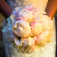 Calla lillies and peonies bridal bouquet