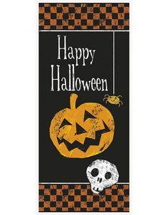1 deurposter met de tekst 'Happy Halloween' Materiaal: plastic Afmetingen:68,5 cm x152 cm Herbruikbaar