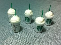 5 Miniature Iced Coffee Starbucks Cups Plastic by thaicraftvillage, $8.00