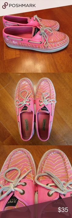 Sperry Top-Sider Zebra Striped Sequin Boat Shoes Sperry Top-Sider  Adorable pink and orange zebra-striped boat shoes/ loafers with sequin finish and suede laces!  In used condition with a couple of marks from wear  So much life left in these high-quality shoes.  Size women's 8. Sperry Top-Sider Shoes