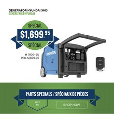 ON SALE! Generator Hyundai 3400 The Hyundai is a fuel-efficient, portable inverter generator powered by an ultra-quiet engine and class-leading inverter technology. Delivery and curbside pickup available. Portable Inverter Generator, Roof Coating, Support Local Business, Rv, Engineering, Blog, Delivery, Technology, Tech