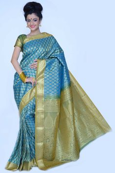 Teal Blue and Olive Green Art Silk Embroidered Festival Saree Sku Code:364-4131SA75861 $ 49.00