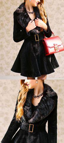 PLUSH FAUX FUR COLLAR COAT DRESS - BLACK   The Style Mob