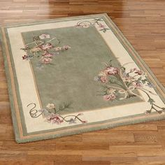 Floral Bouquet Sage Area Rugs