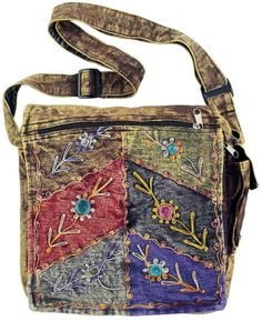 Stonewashed Denim Patchwork Embroidered Shoulder Messenger Cross Body Bag Purse