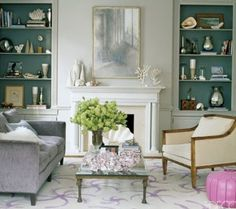 Teal Grey Living Room :: love the teal accents