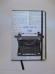 You're just my type, typewriter dictionary art print notebook Green Books, Dictionary Art, Typewriter, Just Me, Notebook, Art Prints, Antiques, Unique Jewelry, Handmade Gifts