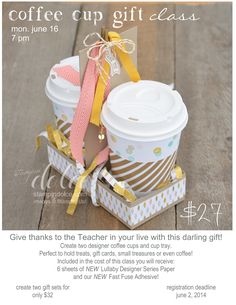 Stampin' Dolce: coffee cup gift containers using Stampin' Up! designer series paper and new fast fuse adhesive!