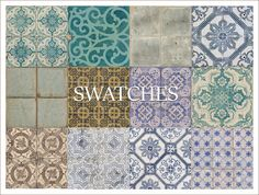 """daer0n: """" 2T4 Conversion of Curiousb's """"Everything Old is New Again"""" Tile floors. This set contains: Antique floor tiles 14 swatches, all swatches shown in image above. Textures credits: Curiousb CC..."""