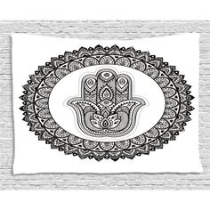 Traditional Wall Graphics Soften a Contemporary Living Room Traditional Bedroom Decor, Ring Shapes, Dorm Decorations, Hamsa, Floral Motif, Dorm Room, Diy Home Decor, Ethnic, Tapestry