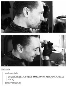 Tom Hiddleston manly Coriolanus make-up