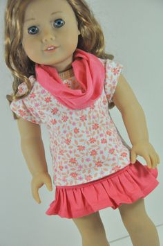 American Girl Doll Clothes Coral Ruffle Skirt by CircleCSewing