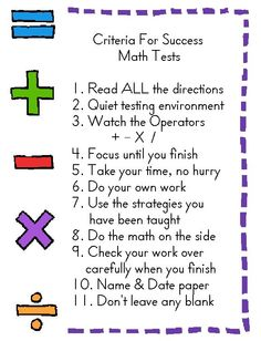 We list our Criteria For Success on the board for many subjects. Here's our Math Assessment criteria: