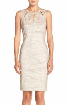 Eliza J Embellished Cutout Taffeta Sheath Dress (Regular & Petite)