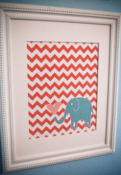 Coral Chevron with Turquoise Elephant: such a cute print for a kids room:) From Etsy
