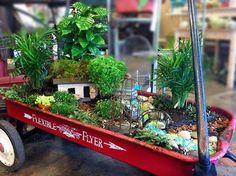 red wagon garden art