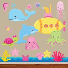 Girly sea creature fabric Decal set, only So cute for any ocean themes room and perfect to go with the mermaid set! Baby Boy Themes, Baby Boy Rooms, Baby Boy Nurseries, Ocean Themed Nursery, Nursery Themes, Nursery Ideas, Kids Art Class, Art For Kids, Murs Turquoise