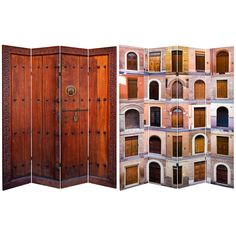6 ft. Tall Double Sided Doors Canvas Room Divider 4 Panel | RoomDividers.com $159