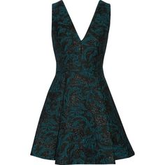 Alice + Olivia Malory pleated metallic jacquard mini dress ($255) ❤ liked on Polyvore featuring dresses, teal, teal dress, metallic jacquard dress, metallic dress, fitted dresses and short fitted dresses