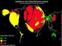 ...While The Same Cartogram Style For World Debt Levels Shifts The Map Westward.