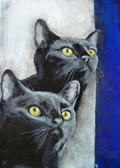OISEAU - Peinture,  24x2x35 cm ©2015 par evafialka -                                                                                                            Art figuratif, Expressionnisme, Impressionnisme, Populaire, Toile, Animaux, Chats, chats, cats, yellow eyes