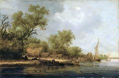 Salomon van Ruysdael - Rivierlandschap met scheepsbouwers