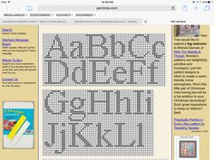 Alphabet Charts, Cross Stitch Alphabet, Cross Stitch Patterns, Alphabet Style, Canvas Ideas, Plastic Canvas Patterns, Needlepoint, Stitches, Fonts