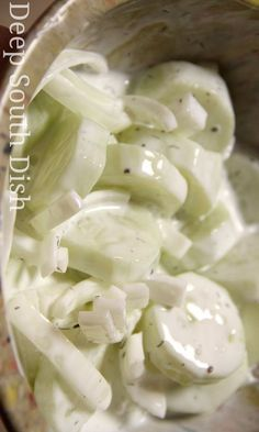 Sour Cream Cucumber and Onion Salad recipe - Deep South Dish- sun Greek yogurt ANd Splenda Sour Cream Cucumbers, Creamed Cucumbers, Cucumbers And Onions, Cucumber Onion Salad, Cucumber Recipes, Salad Recipes, Cucumber Onion Vinegar, German Cucumber Salad, Juice Recipes