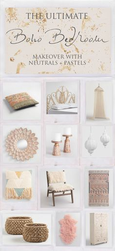 Boho Bedroom Makeover with Pastels and Neutrals via The Bohemian Collective for Cost Plus World Market www.worldmarket.com