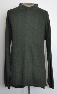 Izod Shirt XLT Green Plaid 100% Cotton Long Sleeve Polo Rugby #Izod #PoloRugby free shipping Buy Now  $16.99