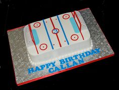 3rd birthday hockey rink cake by Simply Sweets, via Flickr Hockey Birthday Cake, Hockey Birthday Parties, Hockey Party, Dad Birthday Cakes, 3rd Birthday, Birthday Ideas, 1 Tier Cake, July 4 Birthdays, Hockey Cakes